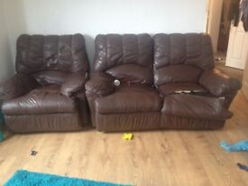 2 seater and chair set recliner leather