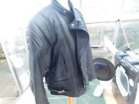 LEATHER BIKER JACKET SIZE 46 AND LEATHER BOOTS SIZE 10/11