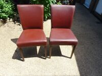 2 x Burgundy colour dining chairs