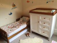John Lewis Nursery Furniture Set - toddler bed, wardrobe and change table with storage below