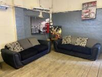 LOVELY HARVEYS BLACK FABRIC SOFA SET IN EXCELLENT CONDITION 3+3 seater