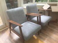 Ikea Ekenaset Wood/Grey Armchairs