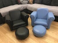 Kids arm chair with foot stool black and blue colour