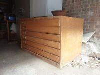 VINTAGE WOODEN PLAN CHEST (1960s) - 6 drawer unit.