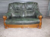 Antique Green Leather 2-seater Oak Frame Sofa (Suite) with matching Armchair