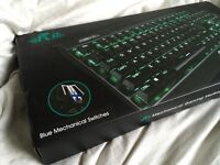 MECHANICAL GAMING KEYBOARD — backlit keys, 50 million key press lifetime, LED light show