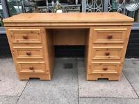 Pine Effect Desk / Dressing Table With Drawers