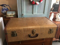 Charming Vintage 1930's Leather Canvas Brown Suitcase Trunk