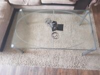 Metal frame with glass table-top. Great condition