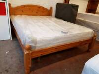 Pine king size bed frame (mattress not included)