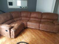 Harveys brown sudette guvnor corner sofa