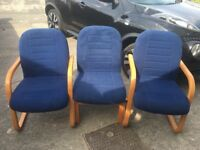 Blue chairs x3 free to collect (waiting room)