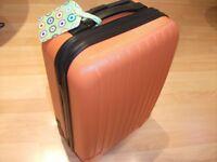 Orange Hard-Case Wheeled Suitcase with Extending Handle