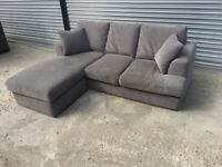 FREE DELIVERY GREY FABRIC L-SHAPED CORNER SOFA GOOD CONDITION