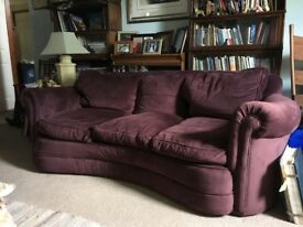 Burgundy velvet covered sofa, 3-seaer, 210 cm x 103 cm x 69cm, excellent condition, £100.