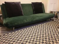 VELVET THREE SEATER SOFA BED DAR GREEN with cushions EXCELLENT CONDITION AND VERY CLEAN