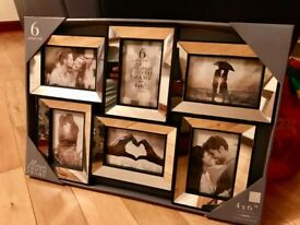 6 photo mirrored frame