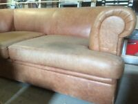 Brown leather sofa free to collect