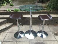 £100 John Lewis Glass Bar top table and stools
