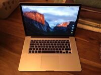 APPLE MACBOOK PRO RETINA 15 INTEL CORE I7 2.3GHZ 8GB RAM 256GB FLASH WIFI WEBCAM OS X