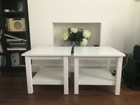 Two White Wood Ikea Hemnes Side Tables £40
