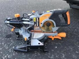 Evolution Rage 3 Mitre Saw - full working order DeWalt SDS Drill with 3 x 24V batteries