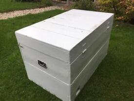 Large painted wooden chest