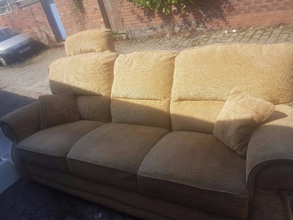 3 seater sofa and matching chair ochre