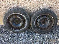 "2 15"" steel wheels 4 stud on excellent 185/60/15 tyres & used 205/55/16 tyres on steel wheels 5 stud"