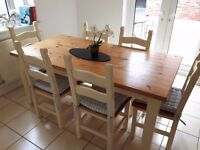 Pine Dining Table and 6 Chairs.