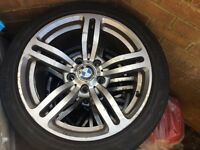 BMW alloy wheels with two BRAND NEW tyres and two brilliant condition