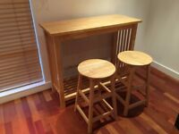 Kitchen/Breakfast Bar Dining Set - table & 2 x stools - solid hardwood