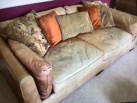 DFS Super soft tan leather 4 seater sofa.
