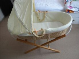 Mothercare Moses Basket and stand, Yellow with giraffe motif, Excellent Cond.