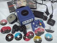 NINTENDO GAMECUBE CONSOLE, CONTROLLERS, RGB CABLE, RESIDENT EVIL MARIO SIMPSONS GAMES BUNDLE