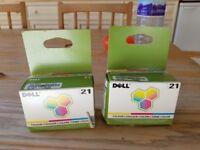 2 x DELL COLOUR printer cartridges No. 21