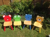 Kids wooden chairs - 4 (red, blue, yellow, green)