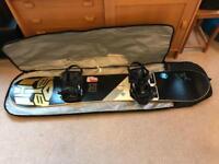 Nitro 155cm snowboard, K2 bindings and Bakoda snowboard bag