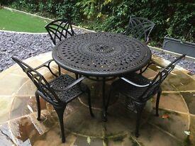 4 Seater 120cm Round Cast Aluminium Patio Dining Set