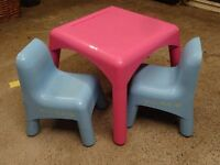 ELC Pink Table and Blue Chairs x 2