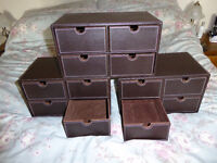 3 x OSCO Faux Leather 4 Drawer (desk top) 'Cabinet' (Brown)