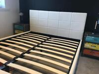 White leather double bed brand new