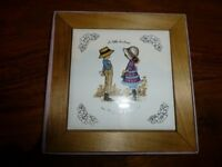 Unusual boxed Petticoats & Pantaloons wooden framed wall tile plaque by Roth for Delgado Mansell