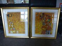 Pair of Klimt prints, glazed and framed