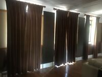 3X PAIRS HUGE VELVET LINED CURTAINS