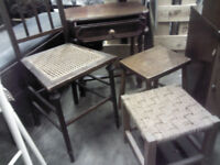 4-PIECE WOODEN BEDSIDE TABLE WITH ANTIQUE CHAIR AND STOOLS