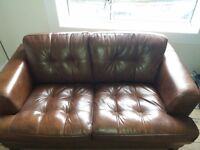 Vogue brown two seater couch and armchair