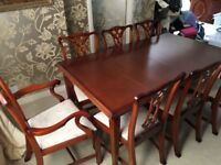 Dining Table Extending And Eight Chairs Mahogany