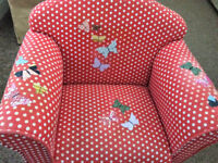 Childs Chair, red spotted fabric with butterflies on.