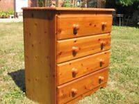 Antique Pine Chest of 4 drawers
